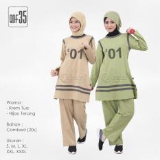 Baju Setelan Olahraga Muslimah / Qirani Mawar 35 Krem
