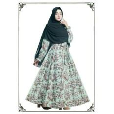 Baju Syar'i Bahan Monalsia / Busana Muslim Modern wanita Corak Bunga Putih