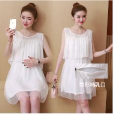 Baju Terusan Ibu Hamil Bahan Jersey Rayon Without Lengan Bahu Terbuka Gaya Korea (Putih)