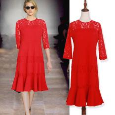 Baju Terusan Ibu Hamil Model Panjang Sedang Gaya Korea Warna Merah (Merah)