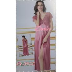 Baju Tidur 2866 Luna Maya Lingerie Long Dress Sleep Wear Satin - PINK