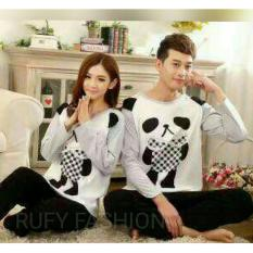 Baju Tidur Couple Pasangan Blacky Whites Panda Smly