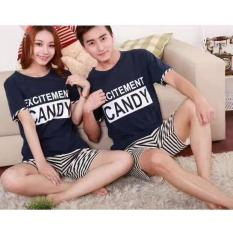 Baju Tidur Couple Piyama Exitemrnt Candy Slur Tripe Navvy Wty