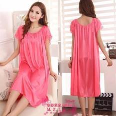 Baju Tidur  Daster Tidur  Daster Rumah  Dress Daster Bajutidur Baju tidur besar fit XL XXL Hamil Satin Murah PINK