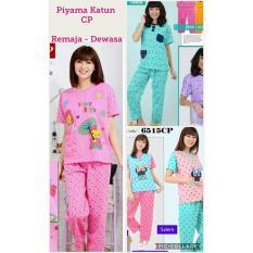Baju Tidur Katun Lengan Pendek Celana Panjang - Baju Tidur Remaja - 7665B7