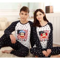 Baju Tidur Piyama Couple Paull Listen Music Dot Black