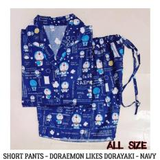 Baju Tidur Piyama Dewasa - Doraemon Likes Dorayaki Navy Short Pants  - Hru9sm