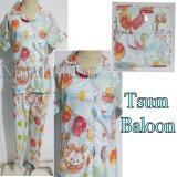 Jual Baju Tidur Piyama Dewasa Wanita Katun Kancing Depan Tsum Baloon Pajamas Branded