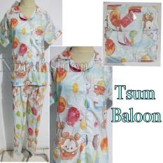 Harga Baju Tidur Piyama Dewasa Wanita Katun Kancing Depan Tsum Baloon Pajamas Multi