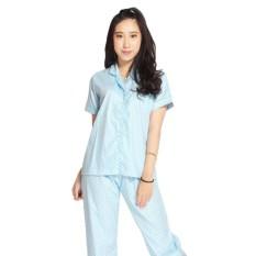 Toko Baju Tidur Piyama Katun Jepang Motif Polkadot Celana Panjang Biru M Murah Di Jawa Barat