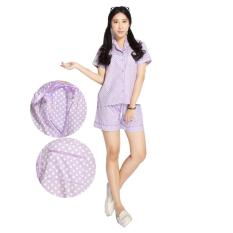 Baju Tidur / Piyama Katun Jepang motif Polkadot Ungu celana pendek (M)