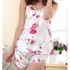 Baju Tidur Piyama Wanita 1 Set Atas Dan Bawah Silk Motif Bunga
