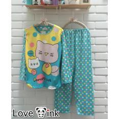 Baju Tidur Setelan Lengan Panjang - Piyama Sleepwear Lucu - Kitty Blue - Ufp0py