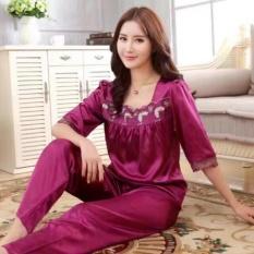 Baju Tidur Wanita  Daster Tidur Wanita  Pakaian Tidur  Piyama Panjang Baju Tidur Bajutidur Satin Murah Wanita  UNGU