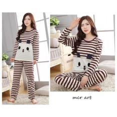 Baju Tidur Wanita Piama Panda Eye Coklat