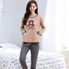 Beli Baju Tidur Wanita Piyama Dewasa Bears Housey Brown Kotak Baju Tidur Murah