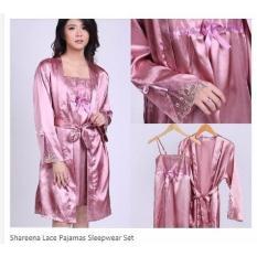 Baju Tidur Wanita Setelan Kimono Impoprt Purple Renda Pita