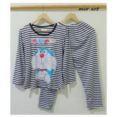 Baju Tidur Wanita Setelan Piyama Doraemon Black To Look Turt