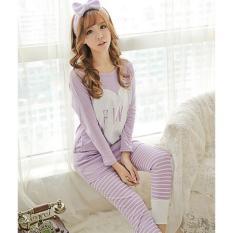 Baju Tidur Wanita Setelan Piyama Ungu Pink Lllove Salur