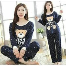 Baju Tidur Wanita / Sleepwear / Piyama Remaja/Dewasa Navy Bear - 9R5czl