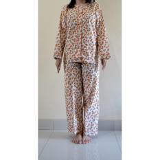 Baju Tidur/Piyama Dewasa Katun Lengan - Celana Panjang Kembang Oranye - Btkh3d
