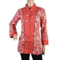 Baju Wanita Batik Kerja Motif Kalimantan-BLS4008-Merah