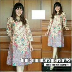 Baju Wanita Dress Batik Tunik Monica Sinaran