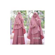 Baju wanita muslim-gamis Syari premium wolfice dustypink polos-busui- cadar-azzahra-by Nurul Collection