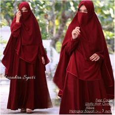 Baju wanita muslim-gamis Syari premium wolfice maron polos-busui- cadar-azzahra-by Nurul Collection