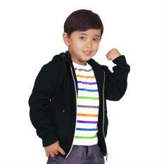 Jual Baju Yuli Jaket Hoodie Zipper Polos Simple Elegant Black Original