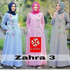 Baju Zahra Stripe Katun salur Maxi Modern Cewek Gamis Panjang Hijab Casual Pakaian Wanita Murah