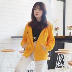 Bajukitaindonesia Jaket Hoodie Zipper Polos Kuning Pria Dan Wanita Terbaru