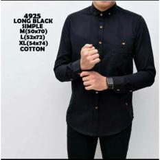 Toko Bajuku Murah 5200 Long Black Simple Long Slevees Short Slevees Kemeja Fashion Atasan Pria Fashion Pria Kerah Lipat Sanghai Kemeja Distro Kemeja Kantor Kerja Fashion Formal Termurah Jawa Barat