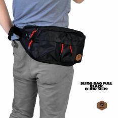 bajuku murah sling bag full black b-mu 5839 tas selempang pria tas jinjing pria koper fashion pria trendy gaul tas distro tas samping pria dompet pria batik kemeja superhero kaos kerah bulat oblong