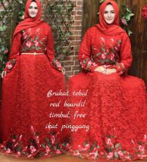 Baju/pakaian wanita murah-gaun dress gamis syari ceruty mix brokat warna maron-size XL By Nurul Collection