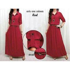 Spesifikasi Bajuready 1010 Baju Maxi Dress Basic Pakaian Wanita Maxy Lengan Panjang Cewek Kekinian Polos Busui Kancing Depan