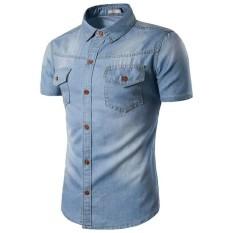 BajuReady 1044 Kemaja Jeans Wash Pria Lengan Pendek Model Terbaru Pakaian Cowok Baju Atasan Laki-Laki Casual Polos Kekinian Busana Laki Laki Distro Formal Kerja Kantoran Santai
