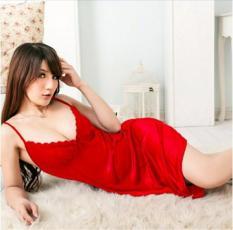 Bajutidur Daster Lingerie Baju Tidur Seksi Satin Murah Ungu Hot