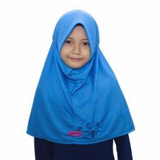 Bajuyuli - Kerudung Jilbab Anak Murah Polos Pita Cantik Biru Turkish