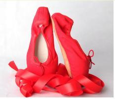 Balet Sepatu Wanita Gadis Satin Dance Sepatu Kanvas Sol Keras Nail Practice Sepatu-red-Intl