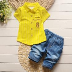 Spesifikasi Baobao Katun Anak Anak Lengan Pendek Rompi Celana Pendek Kuning Terbaik