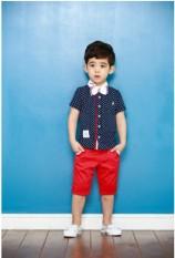2018 Gaya Korea musim panas pakaian anak-anak kemeja laki-laki remaja Set katun ala Inggris 3-5-6-7 tahun Petpet Musim panas pakaian 8