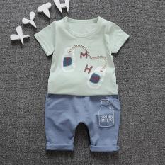 Bayi Korea Modis Model Gaya Musim Panas Anda Anak Laki-laki atau Perempuan Pakaian Anak-Anak (Cyan botol Jas) (Cyan Botol Jas)