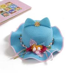 Baobao Korea Fashion Style musim semi dan musim panas pantai bunga anak topi jerami topi matahari topi (Biru)