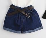 Beli Sayang Korea Fashion Style Warna Solid Gadis Celana Pendek Denim Celana Pendek Denim Dengan Belt Oem Asli