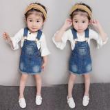 Toko Baobao Putri Rompi Rok Gadis Gaun Berlian Dress Tali Denim Tanduk Lengan Online Tiongkok