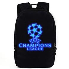 Barcelona Modis Kanvas Laki-laki Baju Sepak Bola Tas Ransel Tas (Liga Champions Hitam Tas)
