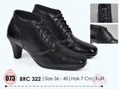 Baricco BRC 322 sepatu boots wanita kulit - 7cm - Cantik & menarik (Black)