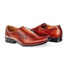 Baricco BRC 602 Sepatu Pantofel Formal/ Kerja Pria Kulit Asli Keren ( Coklat )