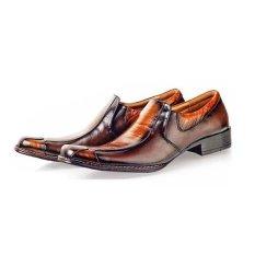 Baricco BRC 628 Sepatu Pantofel Formal/ Kerja Pria Kulit Lak Keren ( Coklat Comb )